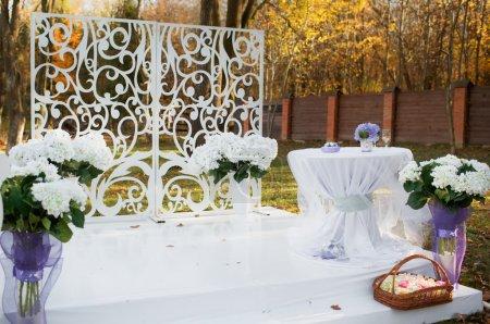 Wedding decoration in garden.