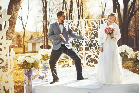 Great wedding couple just happy together.