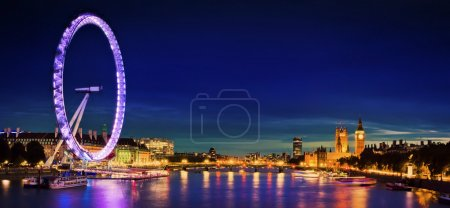 Photo for London at twilight. London eye, County Hall, Westminster Bridge, Big Ben and Houses of Parliament. - Royalty Free Image