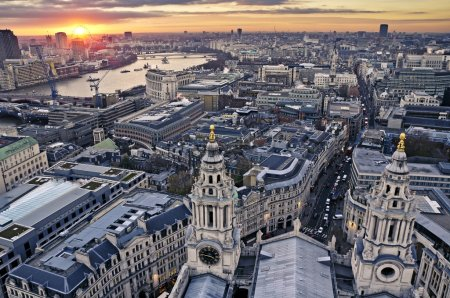 London at twilight view from St. Paul's Cathedral...