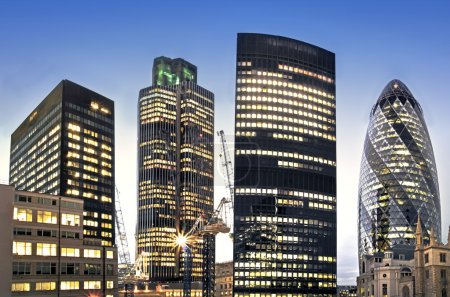 London financial district at twilight