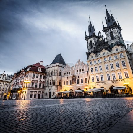 Photo for Prague, Old Town Hall (15th Century), Town Square and Church of our Lady Tyn (1365) at dawn. - Royalty Free Image