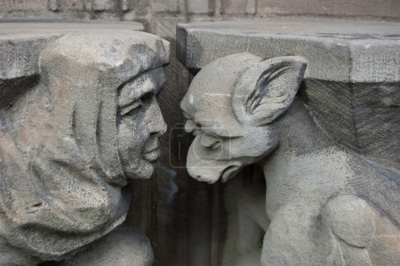 Guilt, shame, sorrow. Caen (Basse Normandie, France).Church of Saint Pierre