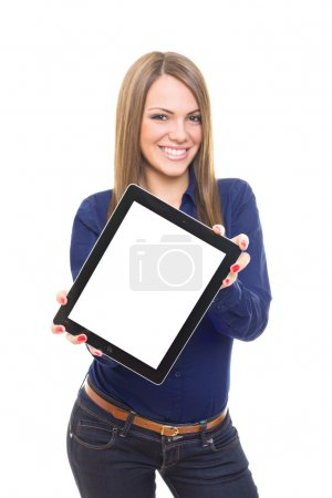 Beautiful blonde businesswoman showing tablet screen