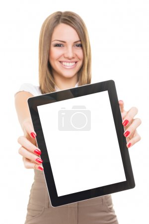 Photo for Cute young Caucasian businesswoman smiling showing blank tablet screen isolated on white background. Copy-space available on tablet screen and in the background. - Royalty Free Image