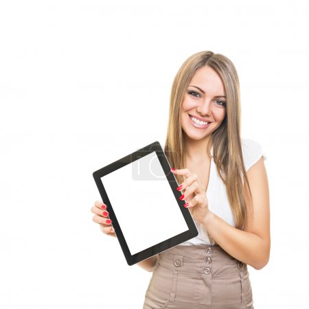 Friendly smiling businesswoman showing blank tablet screen