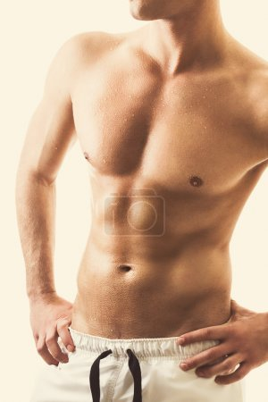 Handsome shirtless young man's torso