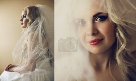 Collage of portraits of a beautiful blonde bride with long curly