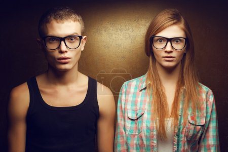 Portrait of gorgeous red-haired (ginger) fashion twins in casual