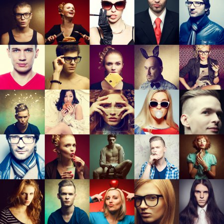 Photo for Hipster people concept. Collage (mosaic) of fashionable men, women with stylish accessories, glasses, healthy and unhealthy food & drinks, wearing trendy clothes. Close up. Studio shot - Royalty Free Image