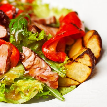 Succulent juicy portion of hot salad with grilled fillet steaks