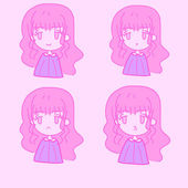 Cute girl emotions set