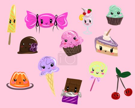 Illustration for Set of cute sweets - Royalty Free Image