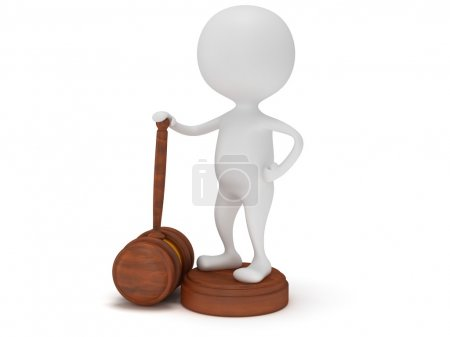 3D man satand with wooden gavel.