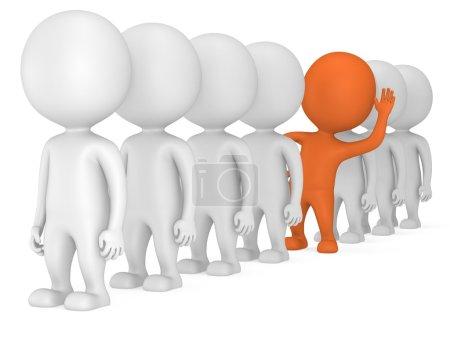 Photo pour 3D gens faire la queue mais orange se distingue sur le dos blanc. hommes, personne en ligne. direction et équipe. de foule. a levé sa main pour voeux - image libre de droit