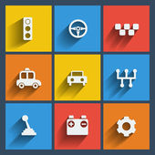 Set of 9 cars web and mobile icons Vector
