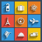 Set of 9 vector travel web and mobile icons in flat design