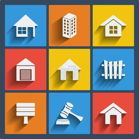 Illustration for Set of 9 vector real estate web and mobile icons in flat design. - Royalty Free Image