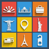 Set of 9 travel web and mobile icons Vector