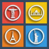 Set of 4 vector travel web and mobile icons in flat design Brazil India New York Paris Jesus statue Liberty statue Taj mahal Eiffel tower
