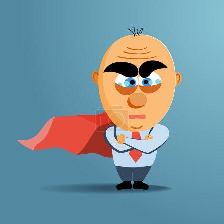 Brave superhero businessman with red cloak. Vector