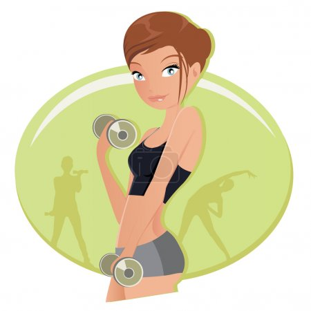 Illustration of a fitness woman working out with dumbbells in gym