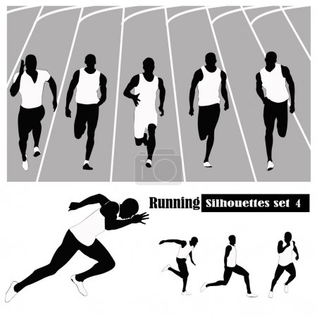 Vector illustration .Athletes running on a track