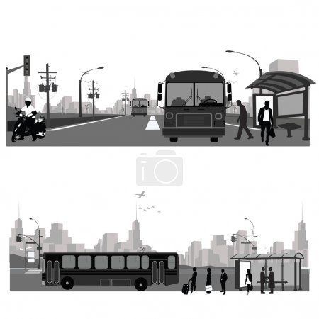 Vector Illustration: Bus station.Public transportation