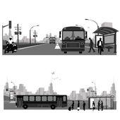 Vector Illustration: Bus stationPublic transportation