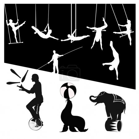 Vector silhouettes.Circus show