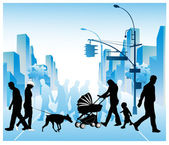 Vector illustration of various walking through a city
