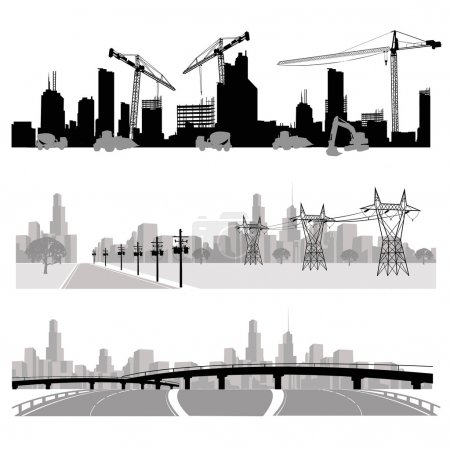 Photo for Construction,energy distribution and highway silhouette - Royalty Free Image