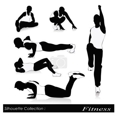 Illustration pour Remise en forme de fitness silhouettes .men - image libre de droit