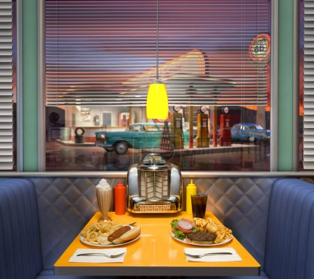 Photo for Hamburger and hotdot shot on the table at a retro American diner looking with a vintage gas station in the background - Royalty Free Image
