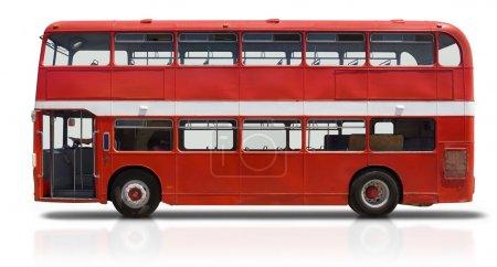 Photo pour Autobus de Londres rouge à deux étages isolé sur blanc avec un tracé de détourage - image libre de droit