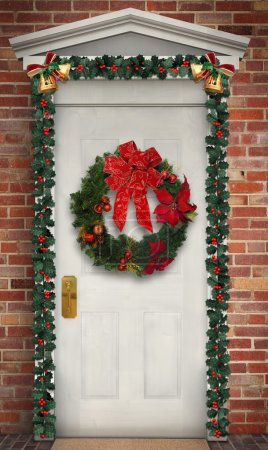 Photo for Christmas wreath hanging on a traditional wooden door decorated with a holly garland - Royalty Free Image