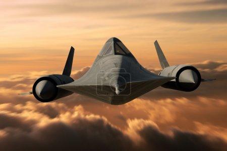 SR-71 supersonic Black Bird flying above cloud lev...