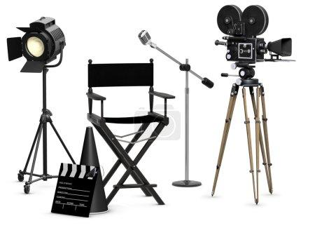 Photo pour Coffret de film vide avec équipement de film vintage sur fond blanc - image libre de droit