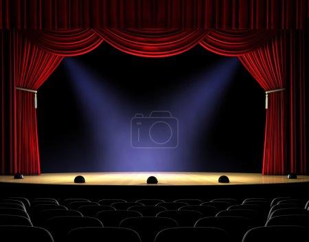 Photo pour Scène de théâtre avec rideau rouge et projecteurs sur le plancher de la scène - image libre de droit