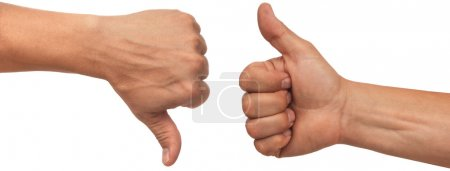 Photo for Two male hands with thumbs up and down on white background - Royalty Free Image