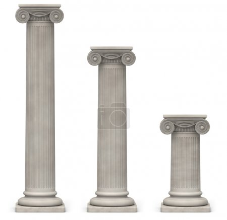 Ionic Columns on White