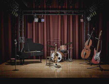 Photo pour Stock Photo d'instruments de musique installés sur scène pour la musique jazz . - image libre de droit