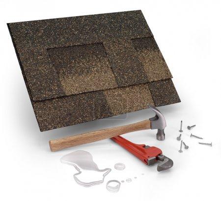 Photo pour Une photo d'une toiture bardeaux, de marteau & de l'eau - image libre de droit