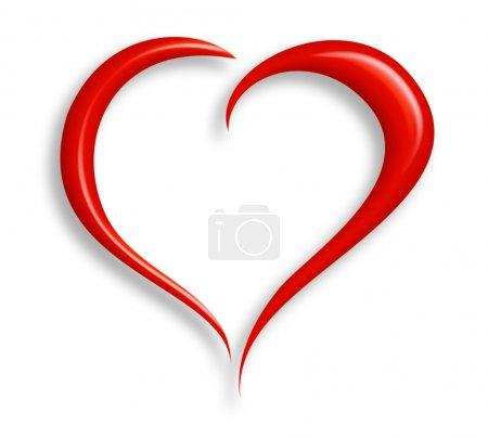 Photo pour Coeur stylisé de valentine fait à partir de deux swashes et isolé sur l'information blanche incluse avec le chemin de coupure. - image libre de droit