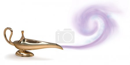 Photo for A photo of a magic genie lamp with purple smoke - Royalty Free Image