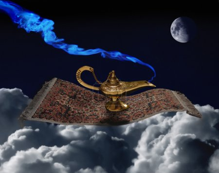 Photo for Aladdin lamp on the magic carpet - Royalty Free Image