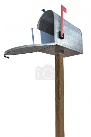 A standard galvanized mailbox on post, with mail a...