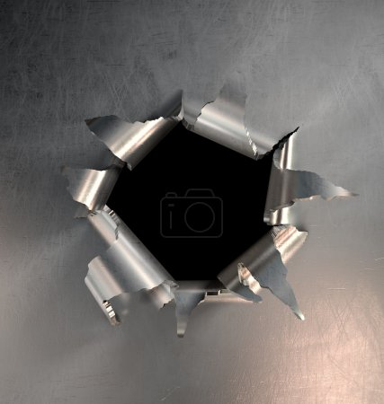Photo for A metal hole burst - Royalty Free Image