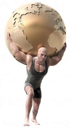 Photo for A muscular man with a body suit lifting a globe of the earth. - Royalty Free Image