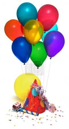 Foto de Sombrero del partido, follonero, globos, confeti blanco - Imagen libre de derechos